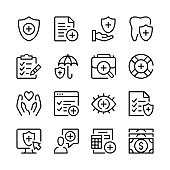 Health insurance line icons set. Modern graphic design concepts, simple outline elements collection. Vector line icons