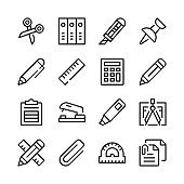 Stationery line icons set. Modern graphic design concepts, simple outline elements collection. Vector line icons