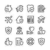 Insurance line icons set. Modern graphic design concepts, simple outline elements collection. Vector line icons