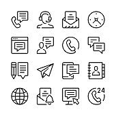 Contact us line icons set. Modern graphic design concepts, simple outline elements collection. Vector line icons