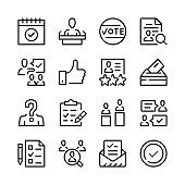 Vote line icons set. Modern graphic design concepts, simple outline elements collection. Vector line icons