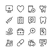 Healthcare icons. Vector line icons. Simple outline symbols set