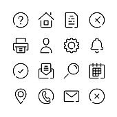 Interface icons. Vector line icons. Web interface, settings, gui, basic, essential website symbols. Simple outline symbols set