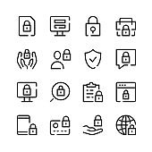 Privacy icons. Vector line icons. Simple outline symbols set