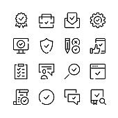 Quality control icons. Vector line icons. Simple outline symbols set