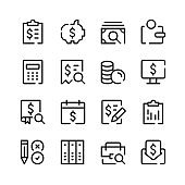 Accounting icons. Vector line icons. Simple outline symbols set