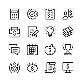 Business icons. Vector line icons. Simple outline symbols set