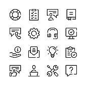 Technical support icons. Vector line icons. Client support services, settings, help desk, maintenance concepts. Simple outline symbols set