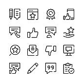 Review icons. Vector line icons. Simple outline symbols set