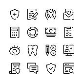 Health insurance icons. Vector line icons. Simple outline symbols set