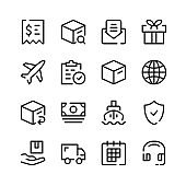 Delivery icons. Vector line icons. Shipment, export, ecommerce, courier, sending parcel concepts. Simple outline symbols set