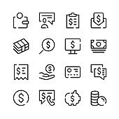 Money icons. Vector line icons. Simple outline symbols set