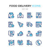 Food delivery icons. Vector line icons set. Premium quality. Simple thin line design. Modern outline symbols collection, pictograms.