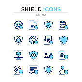 Shield icons. Vector line icons set. Premium quality. Simple thin line design. Modern outline symbols collection, pictograms.