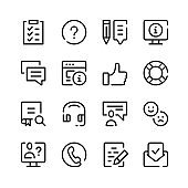 Customer support icons. Vector line icons. Simple outline symbols set