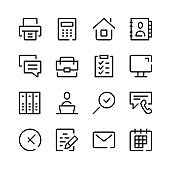 Office icons. Vector line icons. Simple outline symbols set