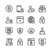Cybersecurity icons. Vector line icons. Simple outline symbols set
