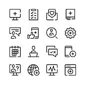 Digital healthcare icons. Vector line icons. Simple outline symbols set