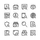Search icons. Vector line icons. Simple outline symbols set