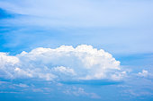 Beautiful white clouds in a bright blue sky on a warm summer day