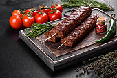 Fresh tasty kebab grilled with spices and herbs