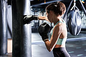 Woman actively training in the gym