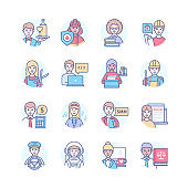 Professions - modern colorful line design style icons