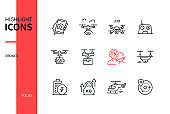 Drones - modern line design style icons set