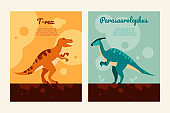 Different dinosaurs - set of flat design style posters