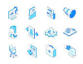 Job search - colorful isometric line icons set