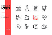 Photography concept - line design style icons set
