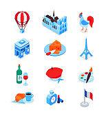 French symbols - modern colorful isometric icons set