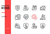 Insurance types - line design style icons set