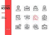 Social network - line design style icons set