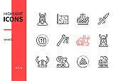 Vikings - modern line design style icons set