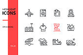 Dry cleaning - line design style icons set