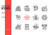 Ecology concept - line design style icons set