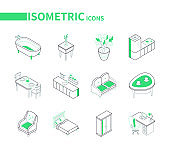 Home interior elements - line isometric icons set