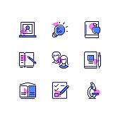 Education - modern line design style icons set