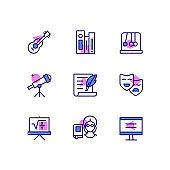 School subjects - modern line design style icons set
