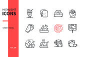 Street food - line design style icons set