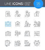 Help for animals - modern line design style icon set