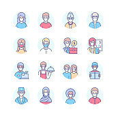 People in face masks - modern line design style icons set