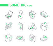 Pizza delivery - modern line isometric icons set