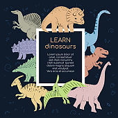 Learn Dinosaurs - colorful flat design style poster