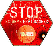 grungy and damaged heat and heatwave warning sign. Extreme heat and climate change in the USA concept, vector illustration