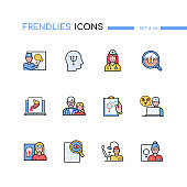 Medical professions - modern line design style icons set