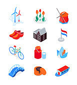 Dutch symbols - modern colorful isometric icons set