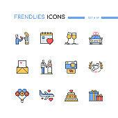 Wedding - modern line design style icons set