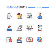 School and education - modern line design style icons set